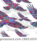 Seamless pattern of Hand-drawn crows with ethnic 28601650