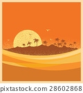tropical island with palms and sun.Vector poster 28602868