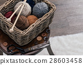 scissors and yarn inside old basket wooden chair 28603458