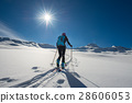 Uphill girl with seal skins and ski mountaineering 28606053