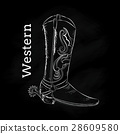 Western Boot Hand draw vintage vector illustration 28609580