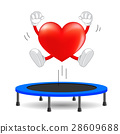 Heart character jumping on trampoline gymnastic.  28609688
