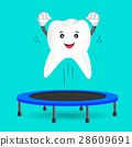 Tooth character jumping on trampoline gymnastic. 28609691