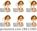 员工女人笔记本电脑面部表情和手势集 28611985