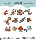 Seafood thin line vector icons set. 28612694