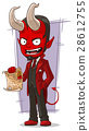 Cartoon sly devil with contract 28612755