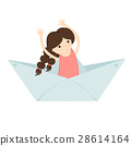 girl floating on a paper boat 28614164