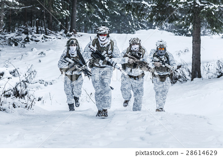 Squad of soldiers in winter forest 28614629