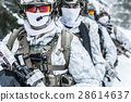 Squad of soldiers in winter forest 28614637