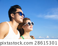 closeup Happy young Couple face  with cloud  28615301