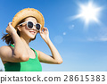 woman relaxing and watching sunlight at summer 28615383