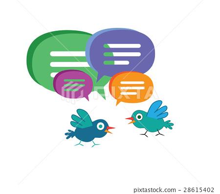 Cute Cartoon Bird with Speech Bubbles 28615402