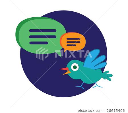 Cute Cartoon Bird with Speech Bubbles 28615406