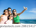 happy family taking a selfie at the beach 28615417