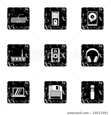 Computer protection icons set, grunge style 28615991