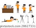 Set of cartoon photographer in various pose.  28627331