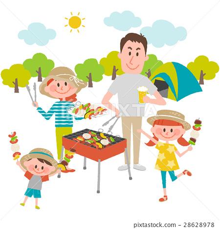 바베큐를 즐기는 가족 28628978