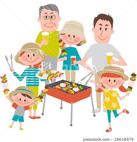바베큐를 즐기는 가족 28628979