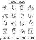 Funeral & burial icon set in thin line style 28630893