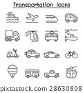 Transport & Logistic icon set in thin line style 28630898