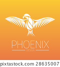 Flaming Phoenix Bird with wide spread wings in 28635007