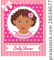 Postcard of baby shower with cute girl on pink 28638677