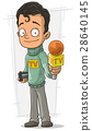 Cartoon TV journalist with orange microphone 28640145