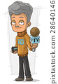 Cartoon TV journalist with microphone and recorder 28640146