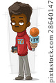 Cartoon TV journalist in red pullover 28640147