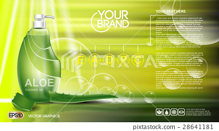 Digital vector green shower gel cosmetic 28641181
