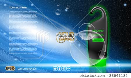 Digital vector black, blue and green shower gel 28641182