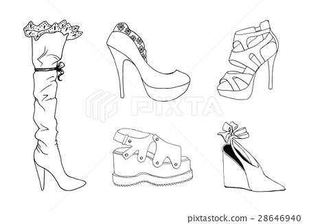 High-heeled shoes for woman. Fashion footwear set. 28646940