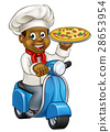 Cartoon Delivery Scooter Pizza Chef 28653954