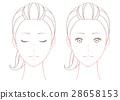 여성의 얼굴 선화 세트 28658153