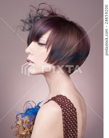 Elegant lady with short hairstyle 28659200