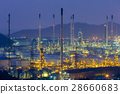 Night view over Oil refinery aerial view 28660683