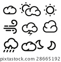 Isolated black and white color elements of weather 28665192