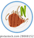 Porkchop and asparagus on plate 28668152