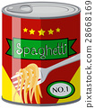 Canned food with spaghetti 28668169