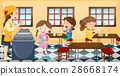 Children having lunch in canteen 28668174