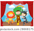 Three kids performing on the stage 28668175