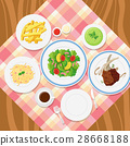Different plates of food on table 28668188