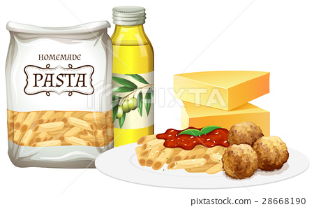 Penne pasta and meatballs with all ingredients 28668190