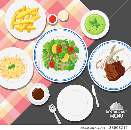 Different types of food on dining table 28668215