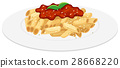Plate of penne pasta with tomato sauce 28668220