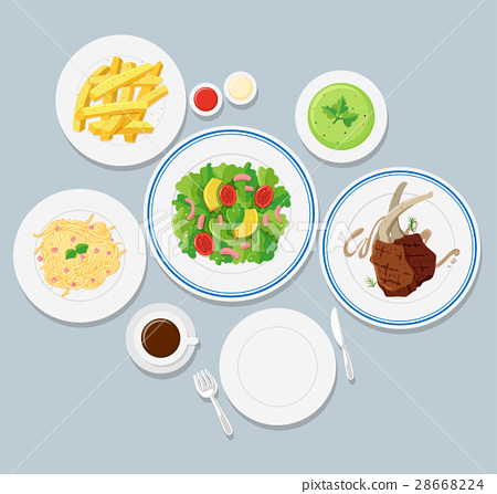 Different types of food on blue background 28668224