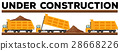 Underconstruction scene with three dump trucks 28668226
