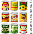 Different types of food in can 28668241