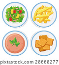 Different food on the plates 28668277