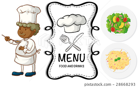 Male chef and different food on menu 28668293
